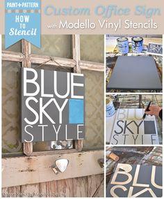 Learn To Stencil Tutorial - DIY Office Sign with custom vinyl stencils Modello Stencils www.modellodesigns.com