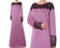 Dusty Purple Abaya Bridal Satin Evening Gown by Tailored2Modesty