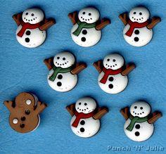 SEW CUTE SNOWMEN Christmas Snowman Snow Winter Novelty Dress It Up Craft Buttons