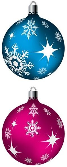 Blue And Pink Christmas Balls PNG Clipart Picture