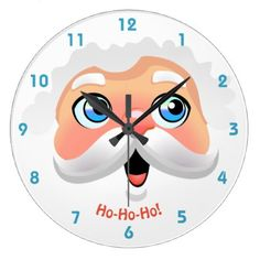 Happy Santa Claus Face Large Clock - home gifts ideas decor special unique custom individual customized individualized