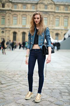 Ondria Hardin after LV, Paris, March 2013 giving us her spin on military and in those fabulous creepers of hers. #offduty