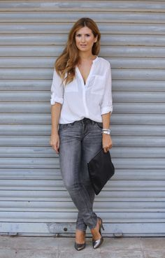 Grey Jeans & White Blouse