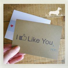 I Like You Mom Mothers Day Card  Funny Card by PickleDogDesign, $4.00