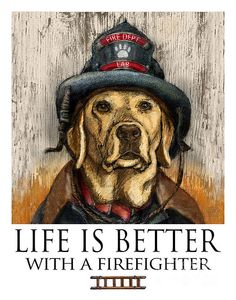 Yellow Lab Art Hero Lab Print of Labrador by MaddieLabStudio Labrador Retriever Rescue, Chocolate Labrador Retriever, Fire Department, Fire Dept, Cool Posters, Unique Art, Life Is Good, Dog Lovers, Wildland Firefighter