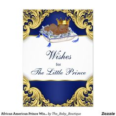African American Prince Wishes for Baby Card