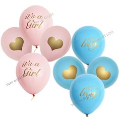 12pcs/lot Baby shower balloon with gold glitter shiny writting its a girl  it's a boy oh baby printed light pink blue ballons-in Ballons & Accessories from Home & Garden on Aliexpress.com | Alibaba Group