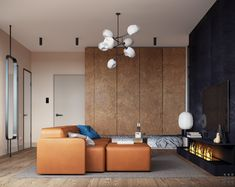 Accente de bleumarin și teracotă într-un apartament de 71.5 m² din Moscova | Jurnal de Design Interior Blue And Orange Living Room, Living Room Grey, Living Room Modern, Living Room Interior, Living Room Designs, Living Room Decor, Living Rooms, Kitchen Living, Dining Pendant