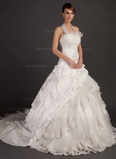 Ball-Gown Halter Chapel Train Taffeta Organza Wedding Dress With Lace Beading (002015494) - JJsHouse