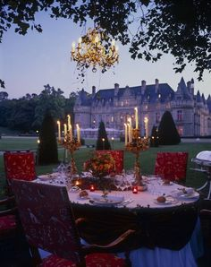 A country house candlelight  party ...  Château d'Esclimont, France.