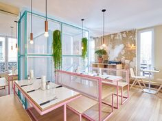 Popping burger joint in pastel hues, by Cut architects | Interior design; fitout; architecture; restaurant; hospitality; indoor plants | MINTY WARES | VIA design42day.com - Paris New York burger restaurant - Design42Day Magazine