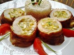 Csirkemelltekercs sajtos-főtt tojásos, mustáros töltelékkel recept