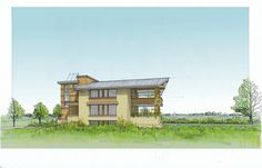 Prairie Style meets Passive House for a rural site: south elevation