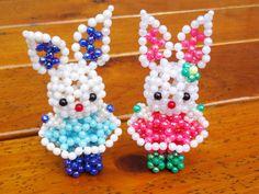 Beaded blue bunny3D Beaded Animal Figurine sitter door JajaCreations