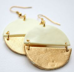 Round dangle earrings, Polymer clay earrings in yellow and gold, Statement…