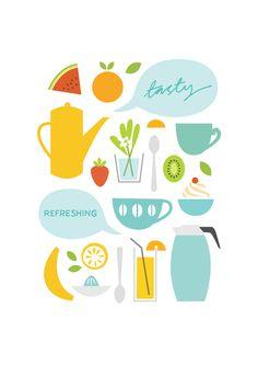 Sarah Abbott, graphic, illustration, design, food, cooking, drawing, print, colour