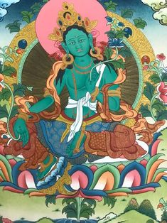 Tibetan Buddhism, Buddhist Art, Green Tara, Amazing Greens, Hindu Deities, Canvas Paper, Flower Of Life, Carat Gold, Cotton Canvas