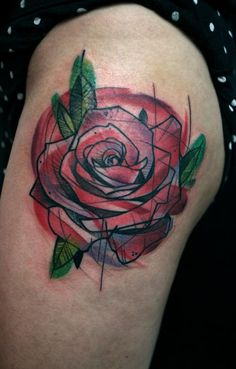 rose geometric  tattoo