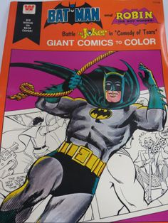"""Batman and Robin Giant Coloring Book, """"Batman and Robin Battle The Joker in Comedy of Tears,"""" by Whitman, 1975"""