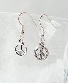 Silver Peace Charm Earrings For Kids by BijiBijoux on Etsy, $7.00