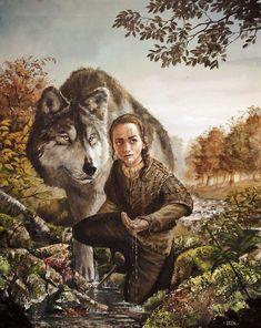Arya Stark e sua loba, Nymeria.