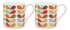2 x Orla Kiely Ten Colour Stem Mugs Orla Kiely, Colour, Mugs, Free Delivery, Tableware, Ebay, Amazon, Garden, Kitchen