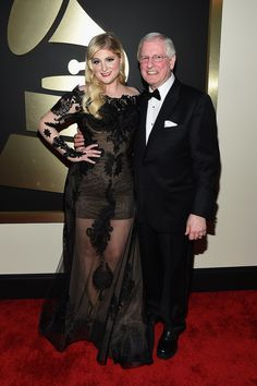 Meghan Trainer and her father, Gary, walked the red carpet together at the Grammys.