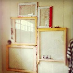 Discarded windows become wall art