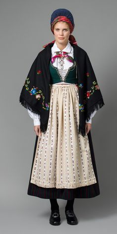 Bunad from Vest-Agder called stripestakk. Means skirt with stripes. Traditional Fashion, Traditional Dresses, Norwegian Clothing, Fashion Wear, Fashion Outfits, Folk Costume, Making Ideas, Vintage Fashion, How To Wear