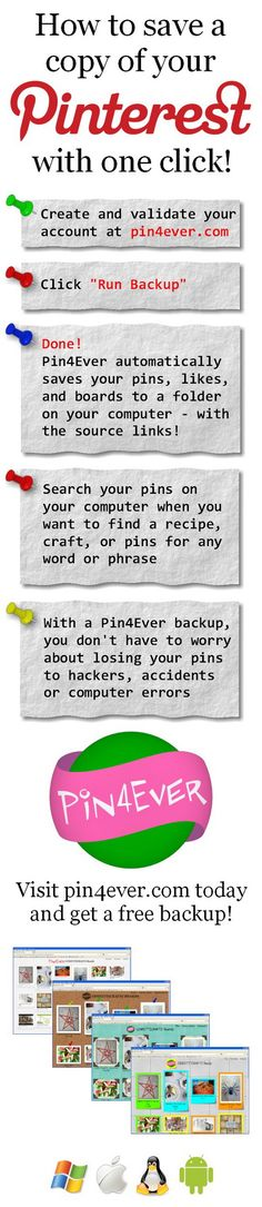 You do not have to worry about losing all of your Pins on Pinterest or what if you accidentally delete a board that took multiple hours to create. Here is a way to save them, a few easy methods to saving your Pins FOREVER. OPTION 1 – 1. Log into Pinterest and go into the … … Continue reading →