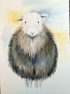 Herdwicks | Becca Fielding Sheep Paintings, Animal Paintings, Watercolor Animals, Watercolor Paintings, Watercolours, Sheep Art, Laser Art, Sheep And Lamb, Cute Illustration