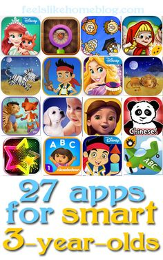 Great apps for 3 and 4-year-old girls! Some educational apps, and some are just for fun. #50giftguides