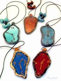 Dali clocks  polymer clay necklace by Moussycrafts on Etsy