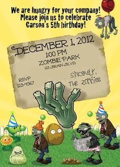Party invites - Plants vs Zombies PVZ Birthday Invite by ckfireboots on Etsy, $10.00 I want to do it myself sometimes but I had to have this and was short on time. Love it and quick communication from the seller :)