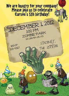 Carte d'invitation d'anniversaire zombie