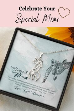 Let you mom know how much you love her and appreciate all that she has done for you with this beautiful message card necklace. The message card says: you're the most beautiful and caring person in the world. You are my sunshine and my source of strength in every difficult moment. I love you. #mothergift #mother'sdayideas #momcard #giraffenecklace #giraffelover #giraffes Mother Gifts, Gifts For Mom, Giraffe Necklace, Mom Cards, Message Card, You Are My Sunshine, Giraffes, Gift For Lover, Beautiful Necklaces