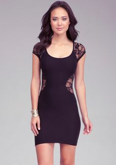 bebe | Contour Lace Inset Dress - Bodycon. Sheer lace design at back and sides, luxe lightweight stretch and wide round neckline make this bebe dress an ultra-sexy party dress.