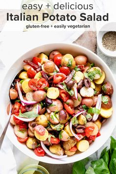 Dig into this Potato Salad with Italian Flavors! It has basil, tomato, and olives and a red wine vinegar and garlic dressing that really pops! #theendlessmeal #potatosalad #italian #italianpotatosalad #potatoes #summer #summersalad #healthyrecipe #pastasalad #picnic #bbq #cookout #sugarfree #paleo #salad Easy Salads, Healthy Salad Recipes, Summer Salads, Whole Food Recipes, Summer Food, Free Recipes, Healthy Food, Italian Potatoes, Healthy Potatoes