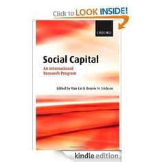Social Capital: An International Research Program. For two decades, a significant number of scholars have subscribed to a common definition of social capital (resources embedded in social networks), employed a standard measurement (the position generator methodology), and conducted original research. Their sustained efforts have demonstrated the power of the concept of social capital in diverse arenas of research and varied cultural and societal settings. Their work has contributed to the…