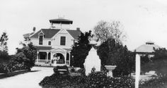 First residence of Peter Weisel, located along west side of Walnut Street north of Ball Road, Anaheim, built ca. 1895 by architect Hans Larson (who later married Peter Weisel's daughter, Della); house was purchased in 1905 by Julian O. Royer and in 1936 by Lutheran Home, and torn down in 1954; property is now the site of the Walnut Manor Lutheran Home (1401 West Ball Road); image shows three-story wood-frame house with covered porches on all three levels.