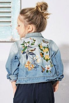 Buy Mid Blue Floral Embroidered Denim Jacket (3mths-6yrs) online today at Next: United States of America
