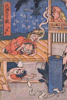 <化物忠臣蔵 七段目 : BAKEMONO CHUSHINGURA> THE MONSTER'S CHUSHINGURA KUNIYOSHI UTAGAWA 1798-1861 Last of Edo Period