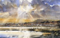"Iain Stewart Watercolors  Elie Evening- Scotland 6.5"" x 10"""