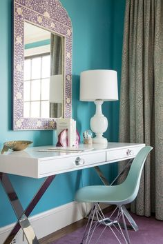 Teen Bedroom | White and Chrome Jonathan Adler Desk with Inlaid Wisteria Mirror | designed by @decorist