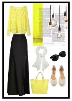 Yellow white black #polyvore #fashion