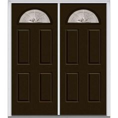 Milliken Millwork 66 in. x 81.75 in. Heirloom Master Decorative Glass 1/4 Lite Painted Majestic Steel Exterior Double Door, Brown