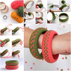 Here is an easy and fun craft for weaving Yarn Bangles. How to turn a hard wood bangles into...