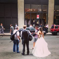 A beautiful bride taking wedding photos outside of the Roosevelt Hotel! #RooseveltWeddings #NYCweddings