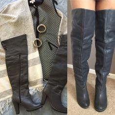 Must have Gray over the knee boot 100% leather, inside is lined so they don't stick to your legs .  The boots where purchased abroad directly from the shoe maker, as a gift from my mom but they didn't fit  it's a great buy ✅will Bundle ✅ ✅ all reasonable offers will be considered No Trading  Poshmark rules only‼️ Great 4 inch thick heel makes it nice and comfortable Ⓜ️1/2 inch platform Ⓜ️21 inches from heel of the boot to the back of the kneeⓂ️front of boot to the top of the knee 25. No BOX…