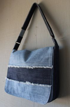 Denim Frayed Stripe Messenger Bag - Adjustable Strap with Zipper Pocket on Back, Two Interior Pockets and Lined with a Soft Cotton 248858328